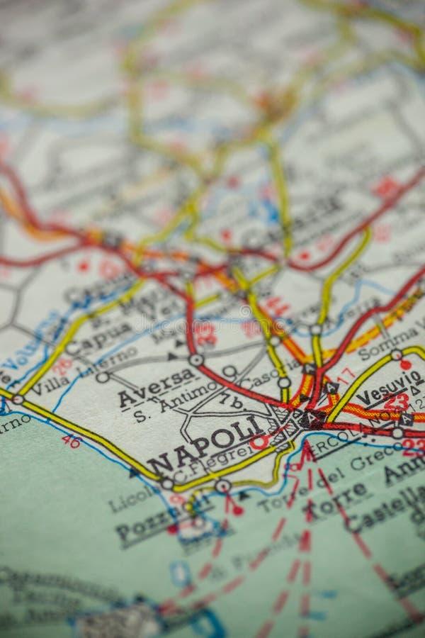 Mapa de Napoli Italia fotos de archivo