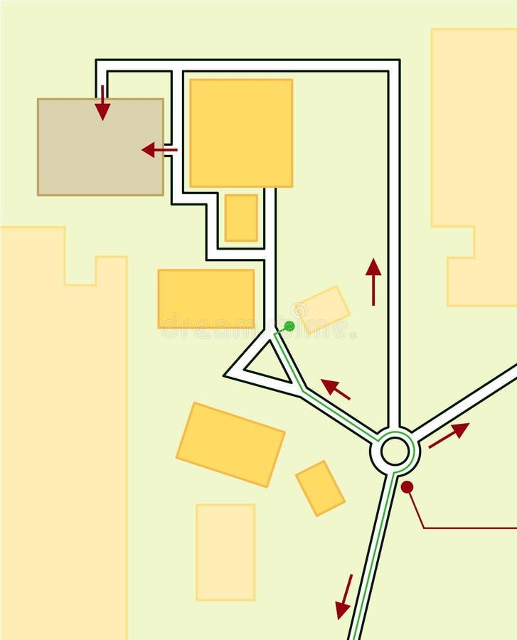Mapa de navegación de direcciones de conducción. Ubicación geográfica, guía turística, organigrama urbano de ruta libre illustration