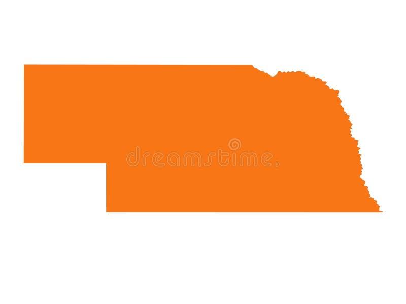 Mapa de Nebraska - estado no Estados Unidos Midwestern ilustração stock