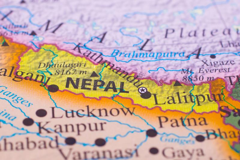 Mapa de Nepal imagens de stock