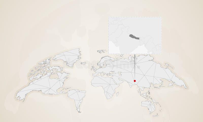 Mapa de Nepal con los países vecinos fijados en mapa del mundo libre illustration