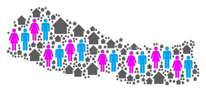 Mapa de Nepal de la población stock de ilustración