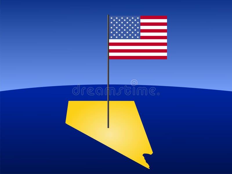 Mapa de Nevada com bandeira ilustração stock