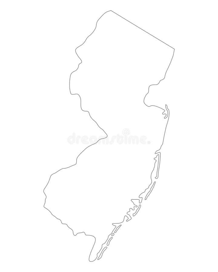 Mapa de New-jersey ilustração stock
