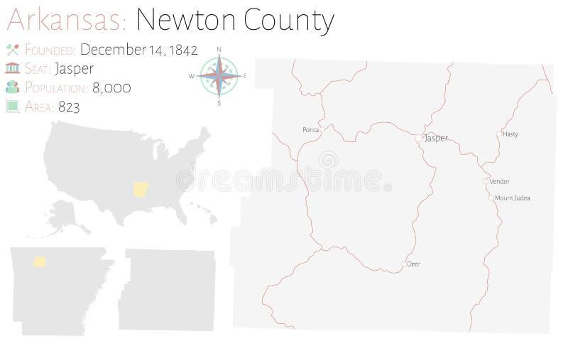 Mapa de Newton County en Arkansas ilustración del vector