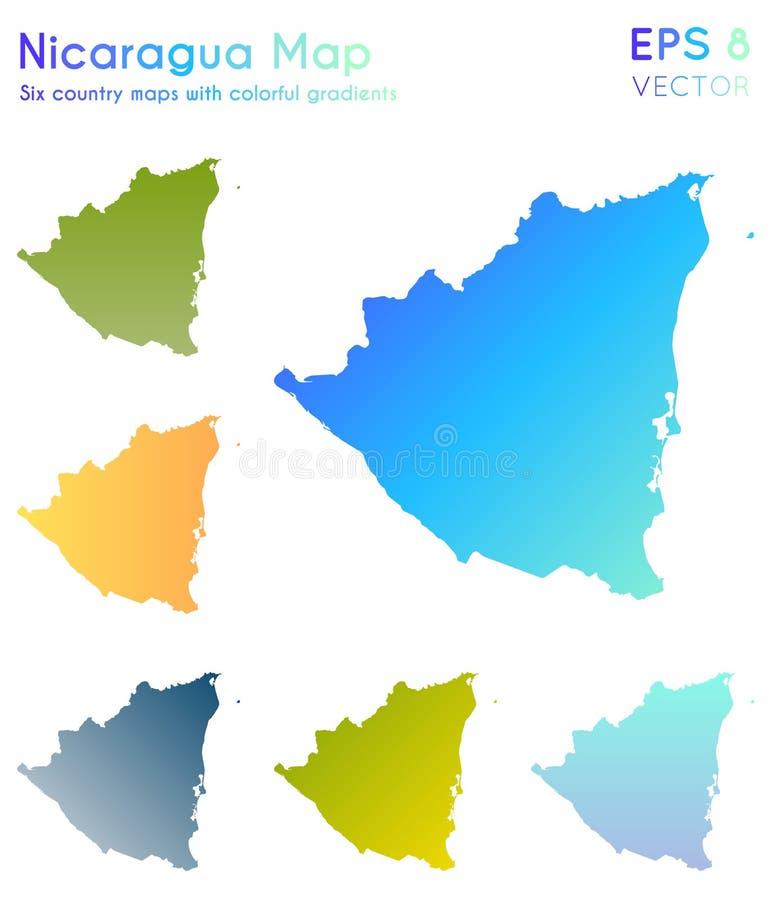 Mapa de Nicarágua com inclinações bonitos ilustração do vetor