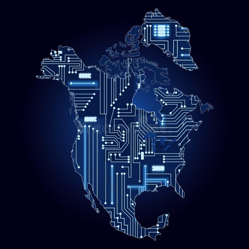 Mapa de Norteamérica con el circuito electrónico libre illustration