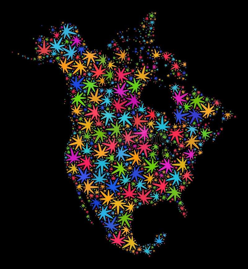 Mapa de Norteamérica V2 del mosaico de las hojas brillantes del cáñamo ilustración del vector