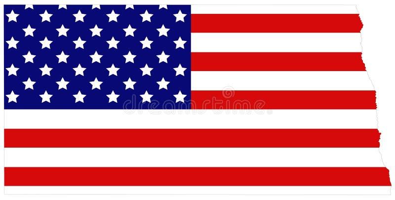 Mapa de North Dakota com bandeira dos EUA - estado no midwestern e nas regiões nortistas do Estados Unidos ilustração royalty free