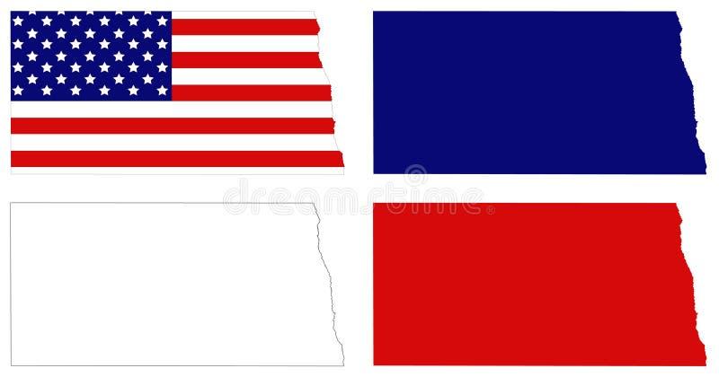 Mapa de North Dakota com bandeira dos EUA - estado no midwestern e nas regiões nortistas do Estados Unidos ilustração stock