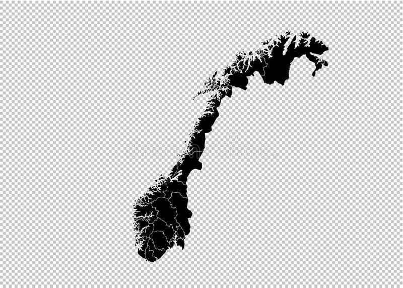 Mapa de Noruega - mapa preto detalhado da elevação com condados/regiões/estados de Noruega mapa de Noruega isolado no fundo trans ilustração do vetor