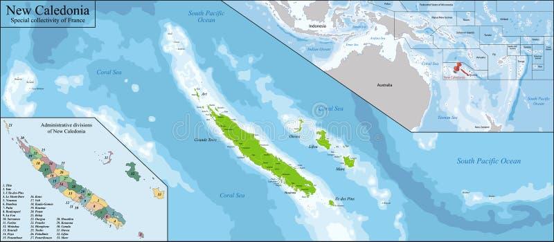 Mapa de Nova Caledônia ilustração royalty free