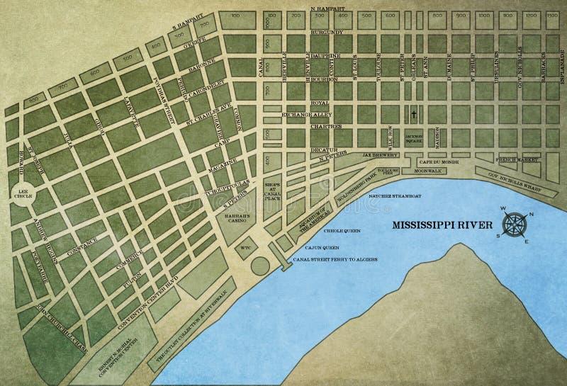 Mapa de Nova Orleães fotos de stock royalty free