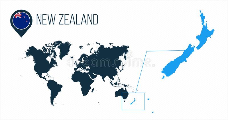 Mapa de Nova Zelândia situado em um mapa do mundo com bandeira e ponteiro ou pino do mapa Mapa de Infographic Ilustração do vetor ilustração royalty free
