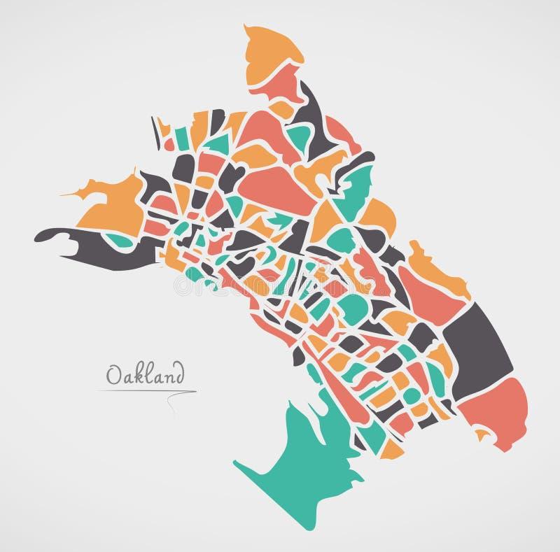Mapa de Oakland Califórnia com vizinhanças e forma redonda moderna ilustração stock