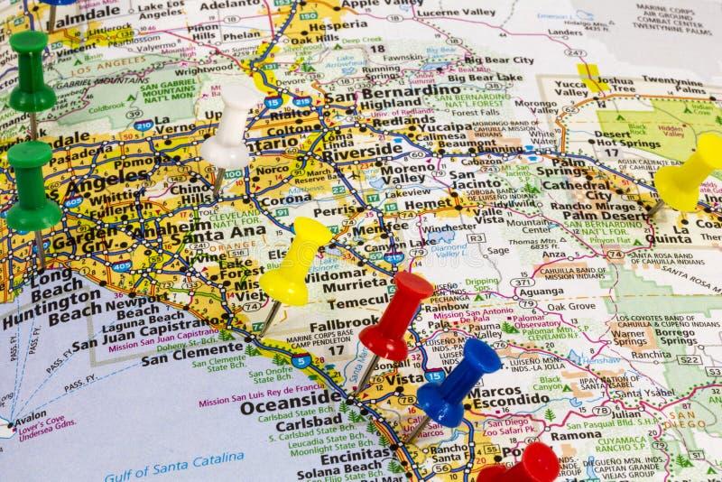 Mapa de Ocanside California Long Beach fotografía de archivo libre de regalías