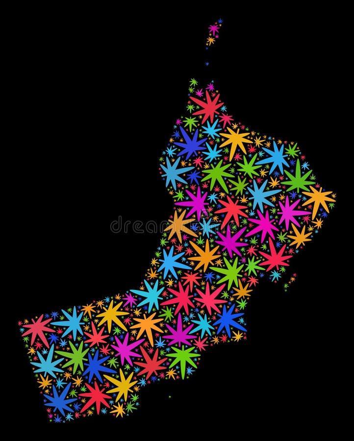 Mapa de Omán del mosaico de las hojas coloridas del cáñamo libre illustration