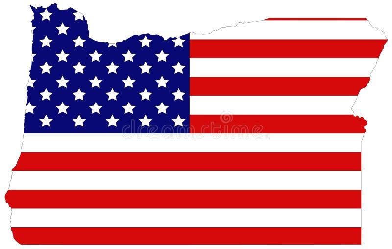 Mapa de Oregon con la bandera de los E.E.U.U. - estado en la región del noroeste pacífica en la costa oeste de los Estados Unidos ilustración del vector