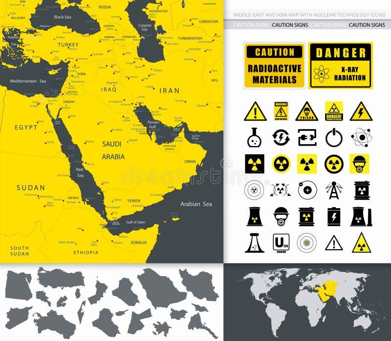 Mapa de Oriente Medio y de Asia e iconos de la tecnología nuclear ilustración del vector