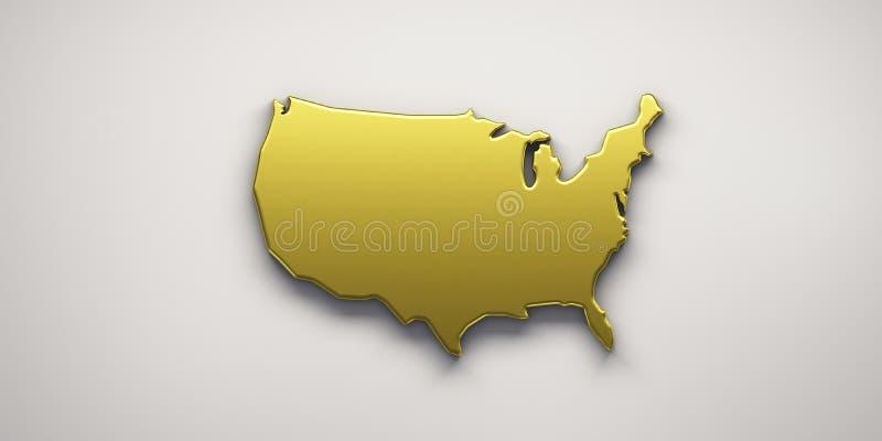Mapa de oro de los E.E.U.U. Estados Unidos 3d rinden la ilustraci?n ilustración del vector