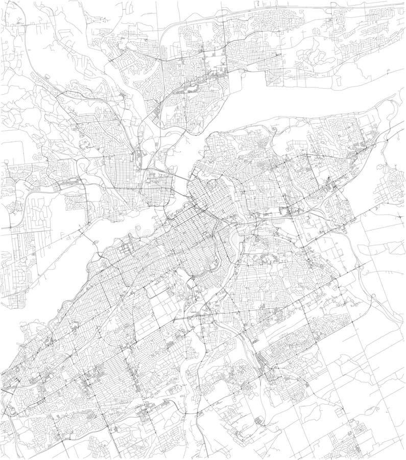 Mapa de Ottawa, vista satélite, mapa preto e branco canadá ilustração royalty free