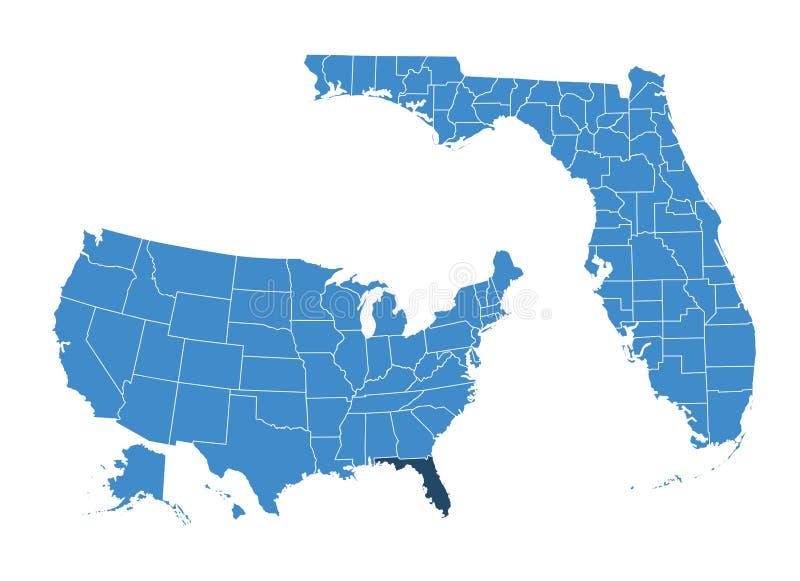 Mapa de Outlne do estado de Florida ilustração do vetor