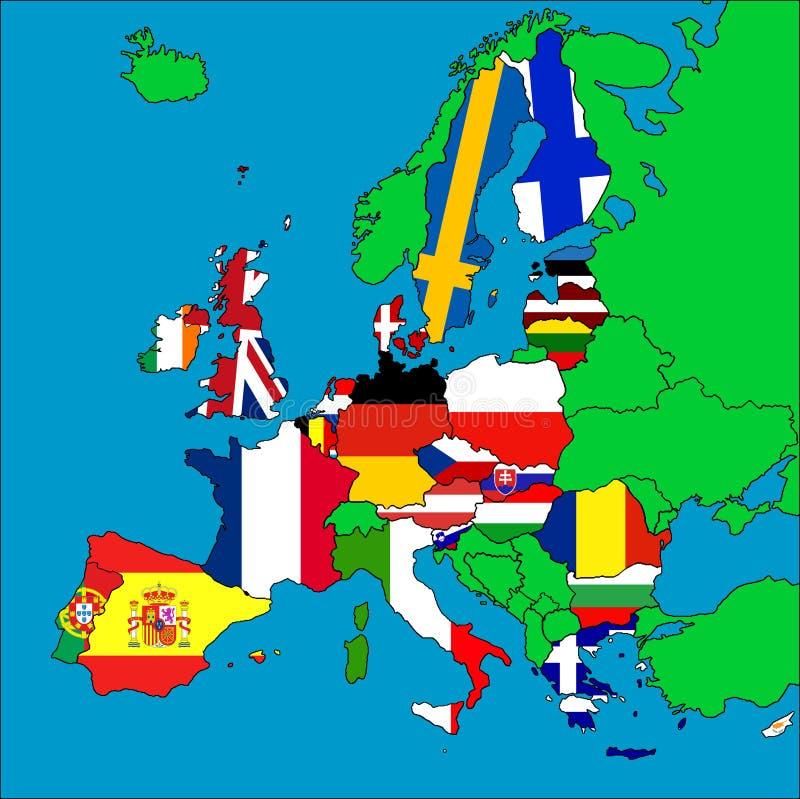 Mapa de países membros da UE ilustração stock