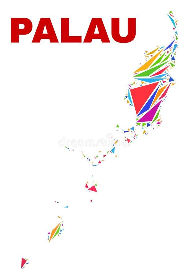 Mapa de Palau - mosaico de los triángulos del color ilustración del vector