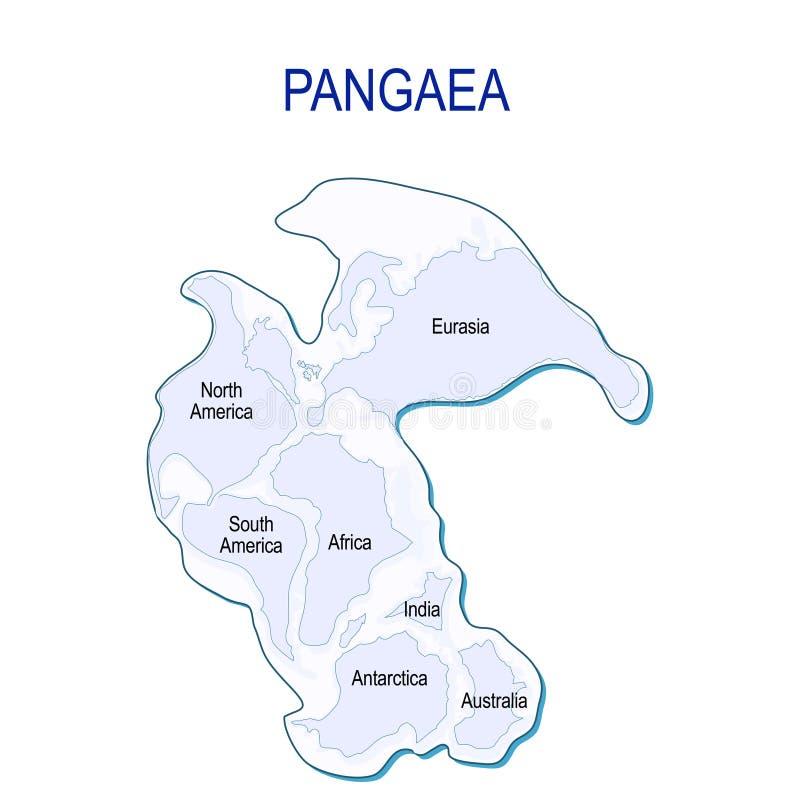 Mapa de Pangaea com beiras continentais modernas ilustração stock