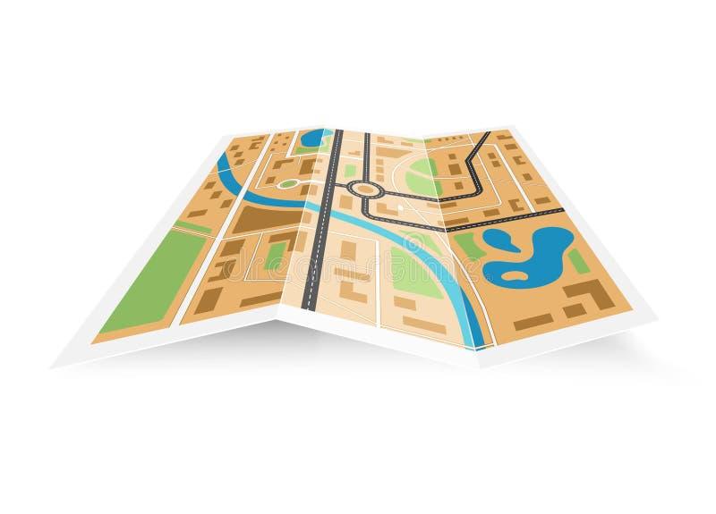 Mapa de papel 3D do distrito ilustração do vetor