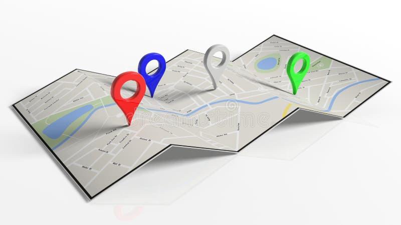 Mapa de papel doblado con los indicadores coloridos stock de ilustración