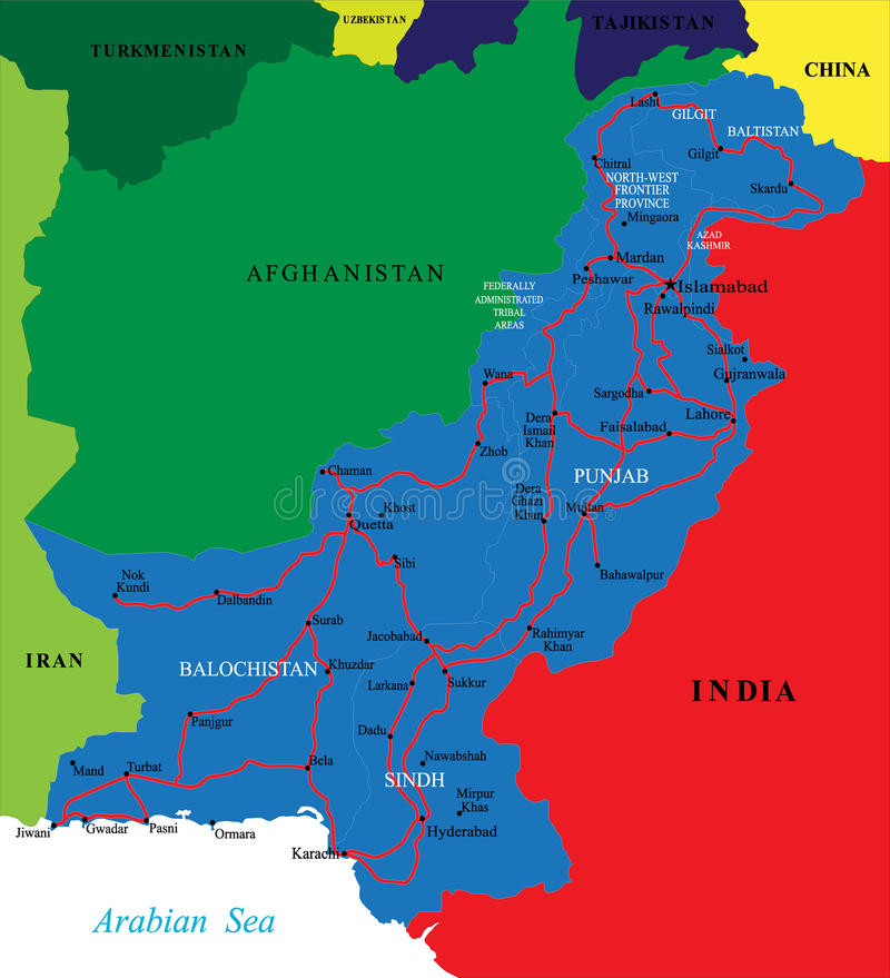 Mapa de Paquistão ilustração royalty free