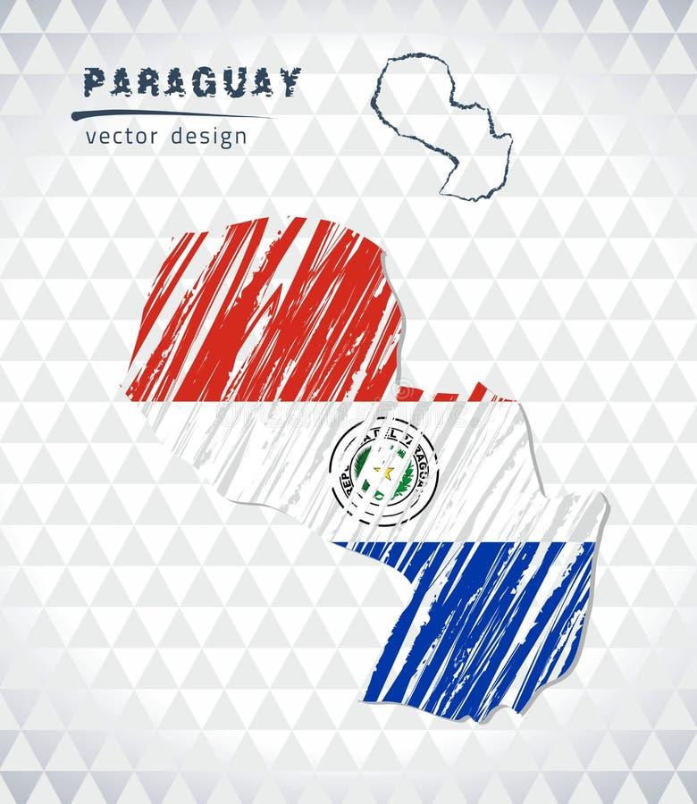 Mapa de Paraguai com o mapa tirado mão da pena do esboço para dentro Ilustração do vetor ilustração do vetor
