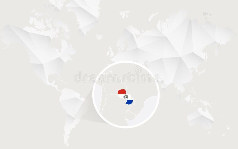 Mapa de Paraguay con la bandera en contorno en el mapa del mundo poligonal blanco libre illustration