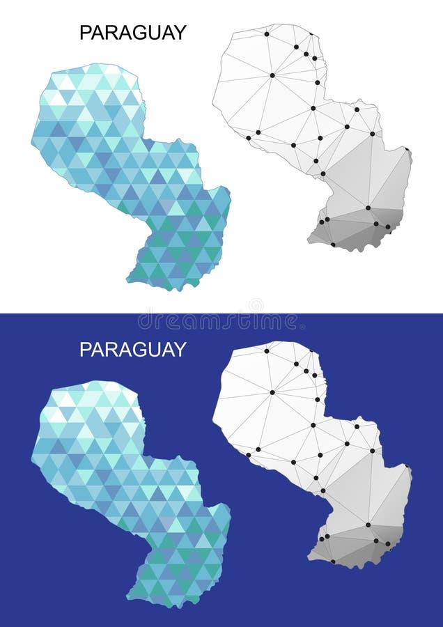 Mapa de Paraguay en estilo poligonal geométrico Triángulo abstracto de las gemas libre illustration