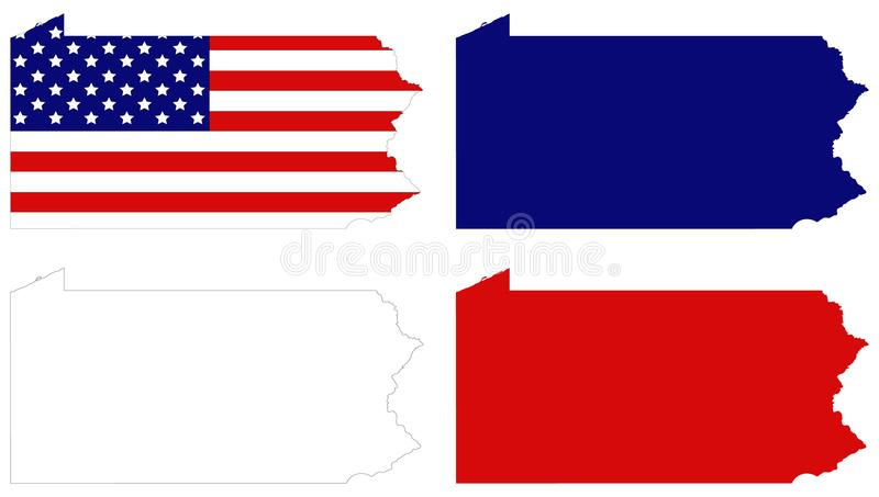Mapa de Pennsylvania con la bandera de los E.E.U.U. - estado situado en las regiones del noreste y del Atlántico medio de los Est stock de ilustración