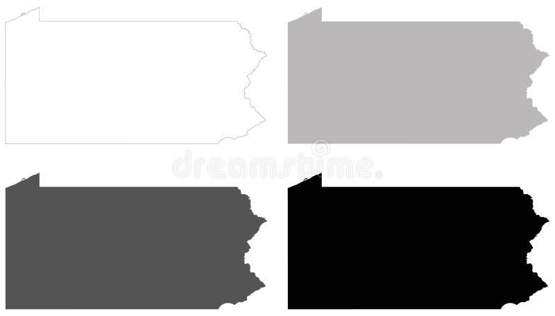 Mapa de Pennsylvania - estado situado en las regiones del noreste y del Atlántico medio de los Estados Unidos ilustración del vector