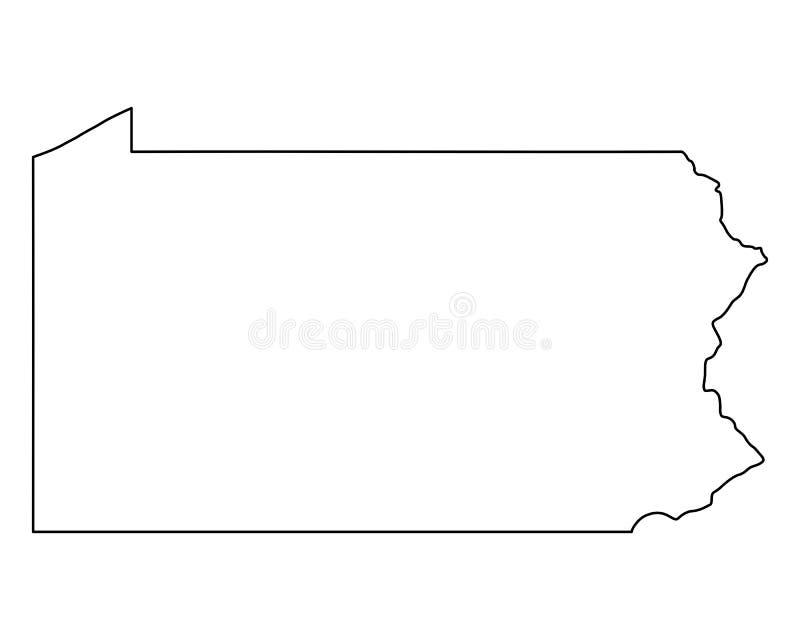 Mapa de Pensilvânia ilustração royalty free