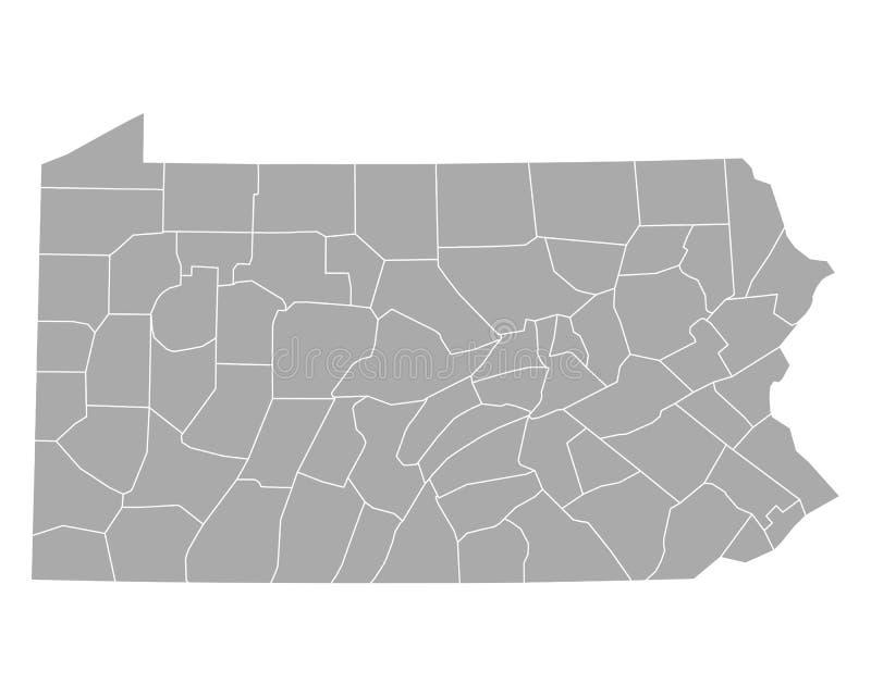 Mapa de Pensilvânia ilustração do vetor