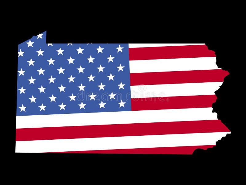 Mapa de Pensilvânia com bandeira ilustração stock