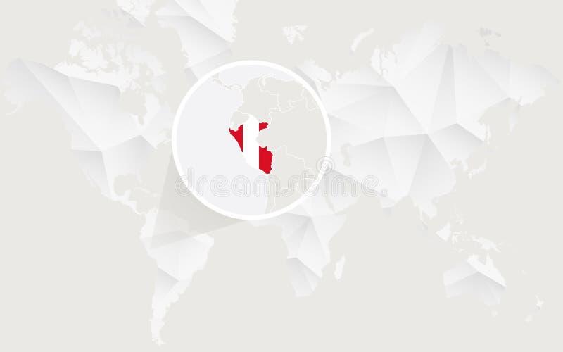 Mapa de Perú con la bandera en contorno en el mapa del mundo poligonal blanco stock de ilustración