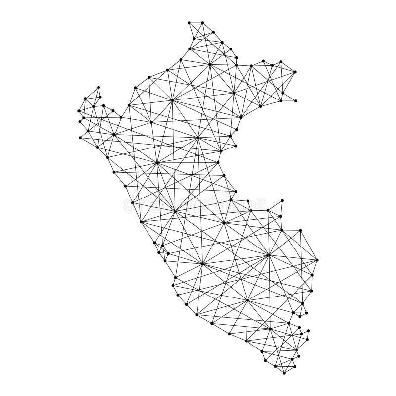 Mapa de Perú de las líneas negras poligonales, puntos del ejemplo ilustración del vector