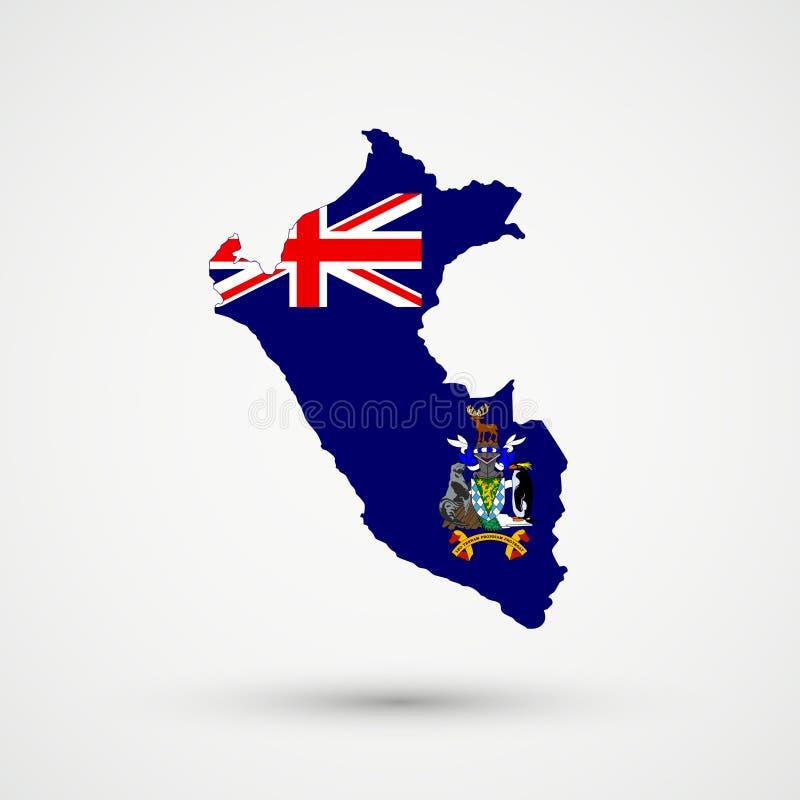 Mapa de Perú en escudo de armas de Georgia del sur y de los colores de la bandera de las islas de bocadillo del sur, vector edita libre illustration