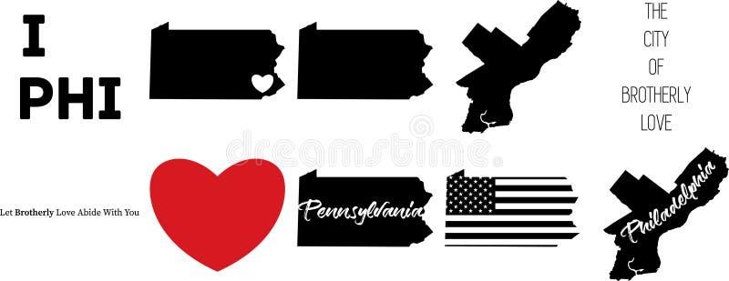 Mapa de Philadelphfia Pensilvânia com símbolo do coração ilustração royalty free
