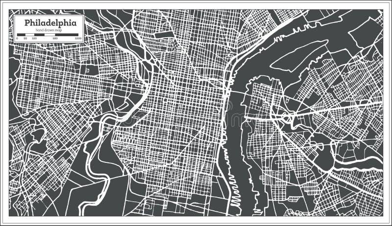 Mapa de Philadelphfia Pensilvânia EUA no estilo retro ilustração stock