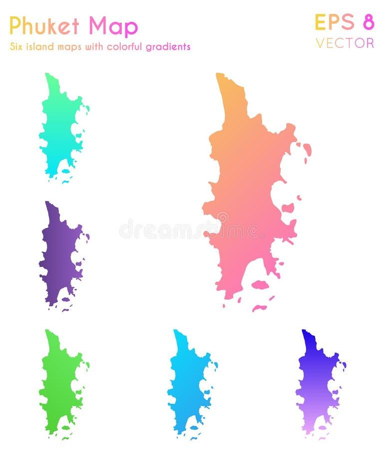 Mapa de Phuket con pendientes hermosas stock de ilustración
