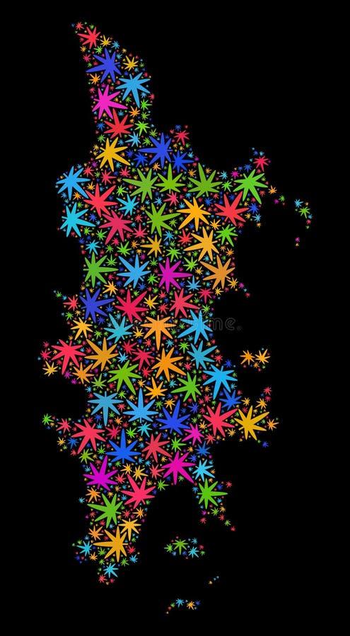 Mapa de Phuket del mosaico de las hojas coloridas del cáñamo stock de ilustración