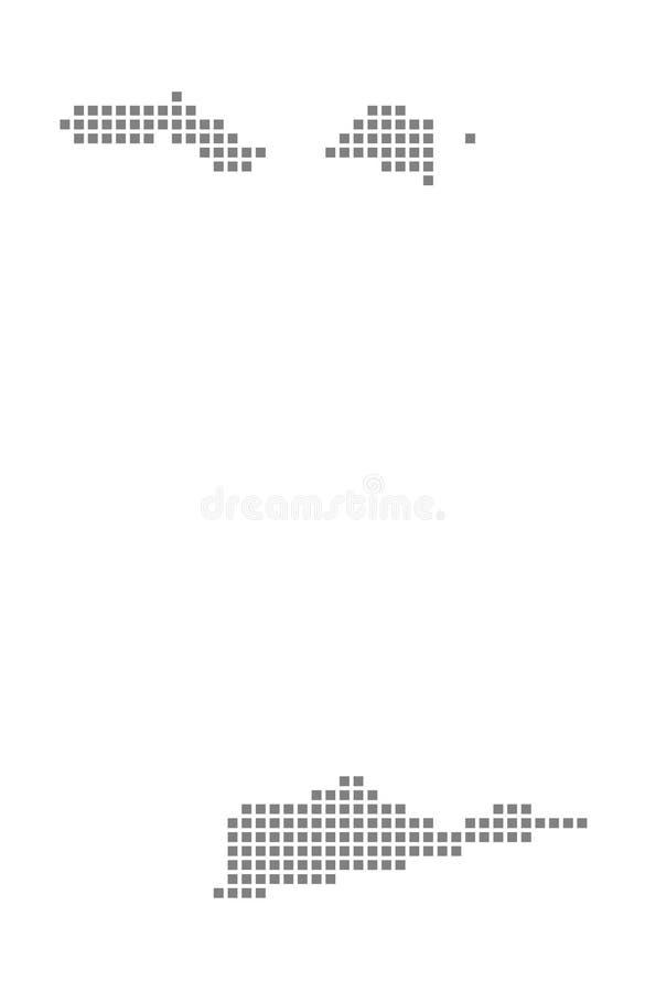 Mapa de pixel de las Islas Vírgenes de los E.E.U.U. El vector punteó el mapa de las Islas Vírgenes de los E.E.U.U. aisladas en el libre illustration