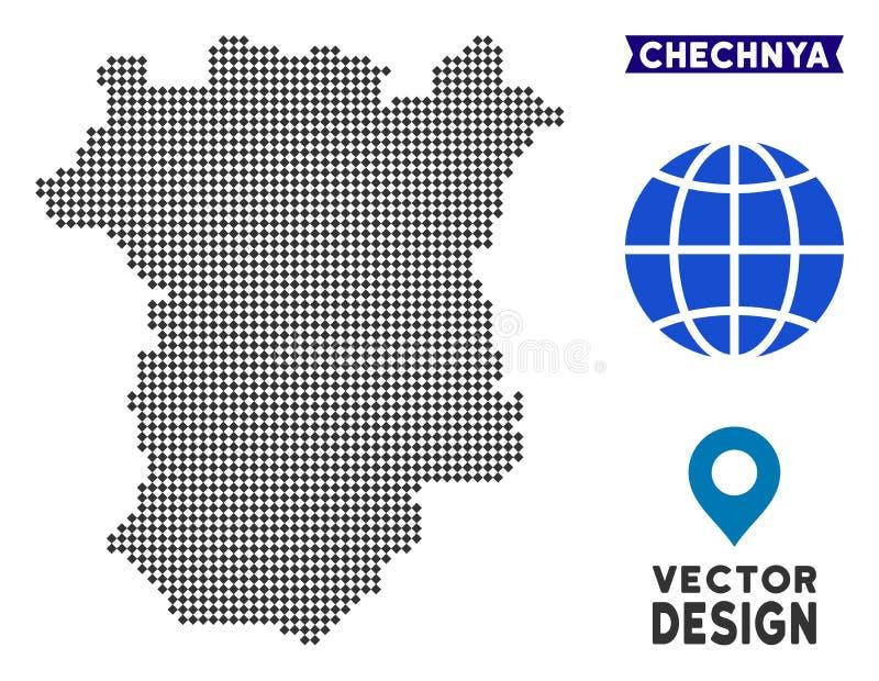 Mapa de Pixelated Chechnya ilustração royalty free