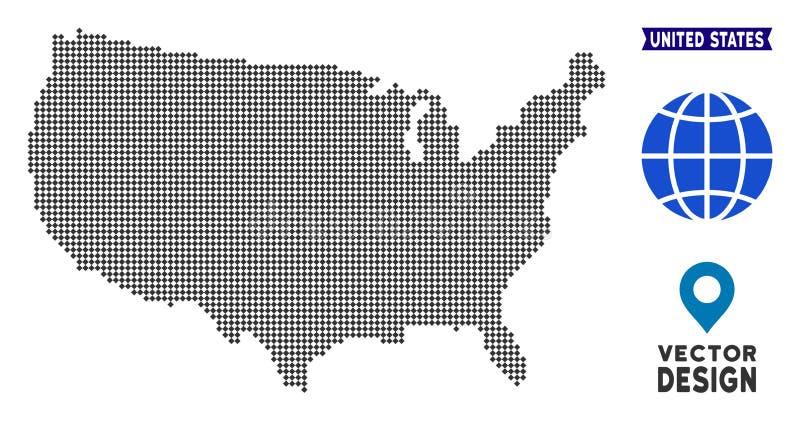 Mapa de Pixelated EUA ilustração royalty free